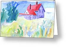 Monhegan Light And Hill Greeting Card