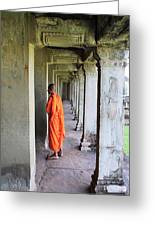 Monk Among The Ruins At Angkor Wat, Cambodia Greeting Card