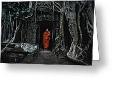 Monk At  Ta Prohm Temple  Greeting Card