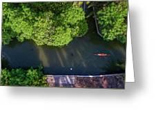 Monk Rowing Boat Along Floating Market Aerial View Greeting Card by Pradeep Raja PRINTS
