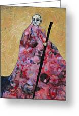 Monk With Walking Stick Greeting Card