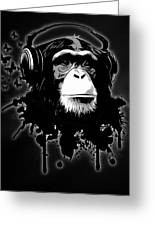 Monkey Business - Black Greeting Card by Nicklas Gustafsson