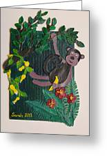 Monkey Swing And Snack Greeting Card