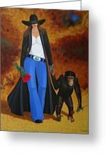Monkeys Best Friend Greeting Card by Lance Headlee