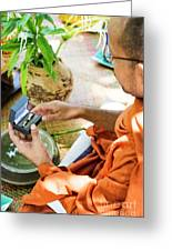 Monks Blessing Buddhist Wedding Ring Ceremony In Cambodia Asia Greeting Card