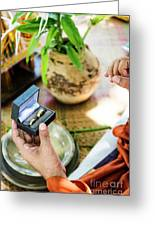Monks Blessing Buddhist Wedding Ring Ceremony In Cambodia Greeting Card