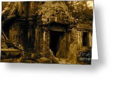 Monks Leaving Angkor Wat Greeting Card