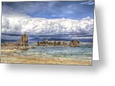 Mono Lake Tufas And Clouds Greeting Card
