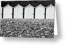 Monochrome Beach Huts Greeting Card