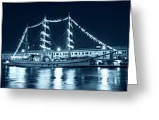 Monochrome Blue Boston Tall Ships At Night Boston Ma Greeting Card