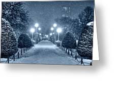 Monochrome Blue Nights Boston Public Garden Snow Storm Ma Massachusetts Bridge Lights Greeting Card