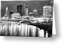 Monochrome Columbus Skyline At Night Greeting Card by Gregory Ballos