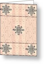 Monogram Qm Stripes Mauvecharcoal 2 Greeting Card