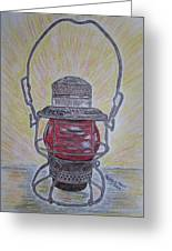Monon Red Globe Railroad Lantern Greeting Card