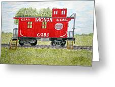 Monon Wood Caboose Train C 283 1950s Greeting Card