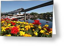 Monorail At Disney's Epcot Greeting Card