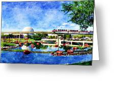 Monorail Red - Coming 'round The Bend Greeting Card