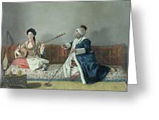 Monsieur Levett And Mademoiselle Helene Glavany In Turkish Costumes Greeting Card