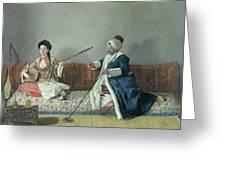 Monsieur Levett And Mademoiselle Helene Glavany In Turkish Costumes Greeting Card by Jean Etienne Liotard
