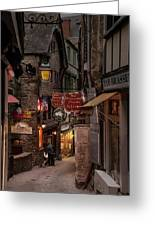 Mont-st-michel, Grand Rue At Night Greeting Card