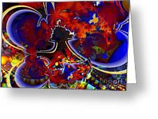 Montage In Reds And Blues Greeting Card
