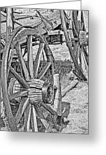 Montana Old Wagon Wheels Monochrome Greeting Card