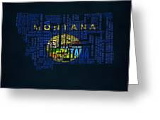 Montana Typographic Map Greeting Card