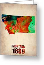 Montana Watercolor Map Greeting Card by Naxart Studio