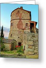 Montefollonico Stone Tower And Fortress Greeting Card