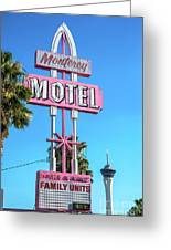 Monterey Motel Sign And The Stratosphere Greeting Card