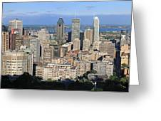 Montreal City Panorama From Mount Royal Quebec Canada Greeting Card