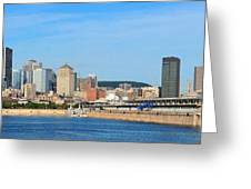 Montreal City Skyline Over River Panorama Greeting Card