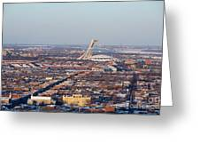 Montreal Cityscape With Olympic Stadium Greeting Card