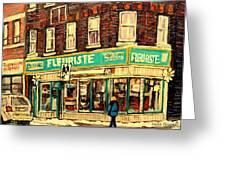 Montreal Cityscenes By Streetscene Artist Carole Spandau Greeting Card by Carole Spandau