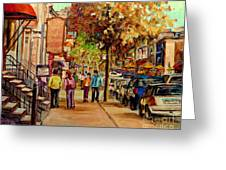Montreal Downtown  Crescent Street Couples Walking Near Cafes And Rstaurants City Scenes Art    Greeting Card