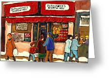 Montreal Hebrew Delicatessen Schwartzs By Montreal Streetscene Artist Carole Spandau Greeting Card