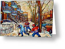 Montreal Hockey Game With 3 Boys Greeting Card