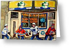 Montreal Poolroom Hockey Fans Greeting Card by Carole Spandau