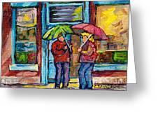 Montreal Rainy Day Paintings April Showers Umbrella Conversation At Wilensky's Deli C Spandau Quebec Greeting Card