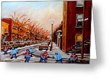 Montreal Street Hockey Game Greeting Card