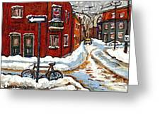 Montreal Street In Winter La Ville En Hiver Buy Montreal Paintings Petits Formats Peintures A Vendre Greeting Card