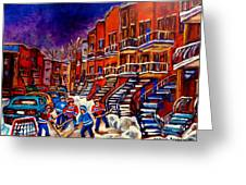 Montreal Street Scene Paintings Hockey On De Bullion Street   Greeting Card
