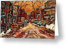 Montreal Streets In Winter Greeting Card