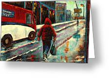 Montreal Streets Winter Morning Greeting Card