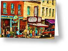 Montreal Streetscene Artist Carole Spandau Paints Schwartzs Main Street Hustle Bustle Greeting Card