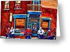 Montreal Wilensky Deli By Carole Spandau Montreal Streetscene And Hockey Artist Greeting Card