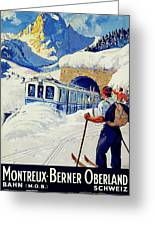 Montreux, Berner Oberland Railway, Switzerland, Winter, Ski, Sport Greeting Card