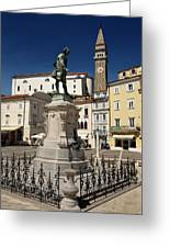 Monument And Statue Of Giuseppe Tartini At Tartini Square Piran  Greeting Card