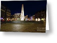 Monument On The Dam In Amsterdam Netherlands At Night Greeting Card