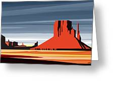 Monument Valley Sunset Digital Realism Greeting Card